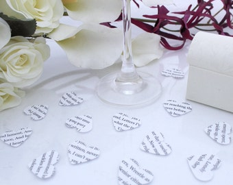 Custom wedding confetti paper heart- 200 personalized white die cut small punched hearts 25mm by 24mm- Great romantic table decoration