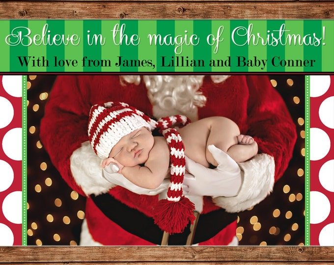 Photo Picture Christmas Holiday Believe Card Polka Dot - Digital File