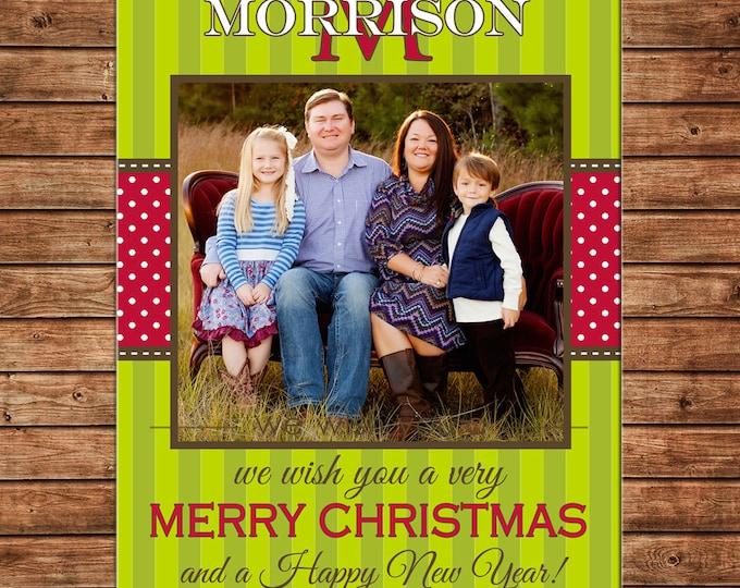 Photo Picture Christmas Holiday Card Elegant Stripe Polka Dot Monogram Ribbon - Digital File