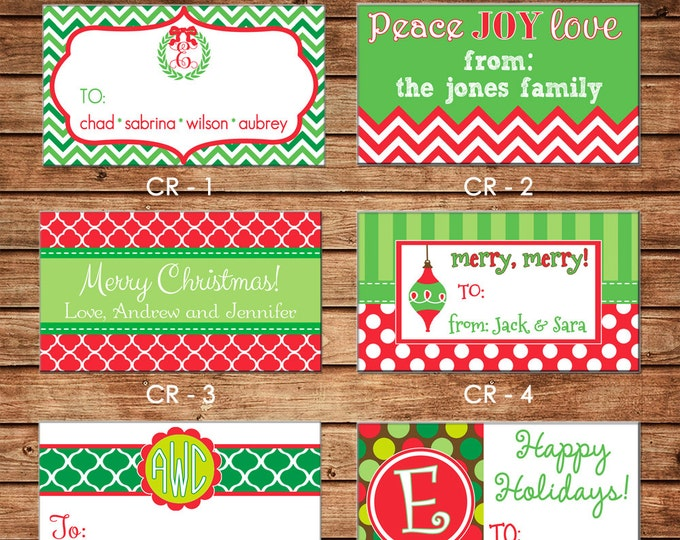 20 Rectangle Personalized Christmas Enclosure Cards or Gift Stickers - Choose ONE DESIGN