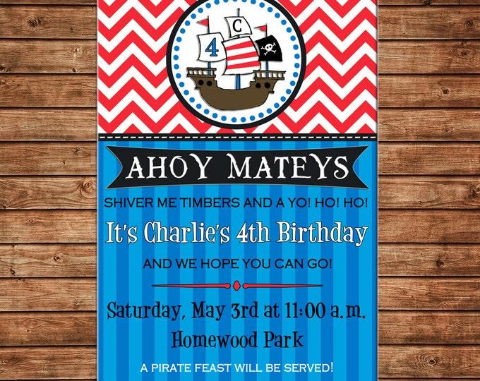 Boy Pirate Ship Pirates Skull Ahoy Mateys Chevron Stripe Party Birthday Invitation - DIGITAL FILE