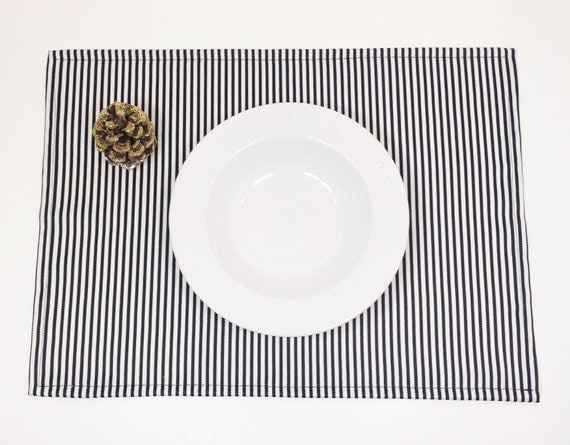 SALE Placemats - set of four - black and white stripe