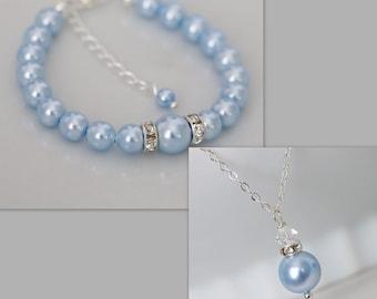 Light Blue Flower Girl Gift, Light Blue Pearl Flower Girl Jewelry Set, Flower girl Jewelry, Ivory Pearl Bracelet and Necklace Set