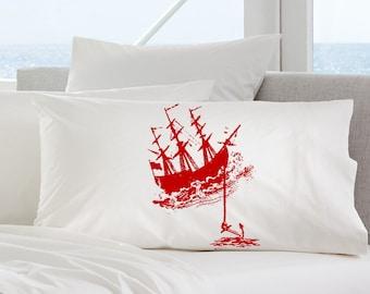 One (1) Red Nautical Tall Clipper Ship with Anchor pirates SAILBOAT PILLOWCASE sail Pillow case navy ocean sea decor