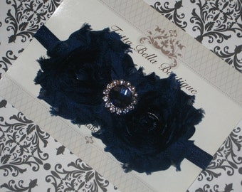 Navy Blue Flower Headband, Baby Headband, Navy Chiffon Flower Headband, Baby Hair Bow, Toddler Headband - Rhinestone Flower