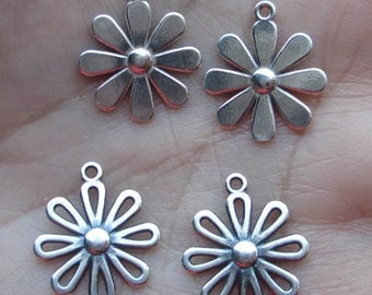 Sterling Silver Open Flower Charms Or solid Flower Charms(one pair)You choose which pair