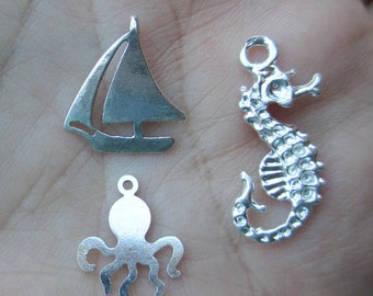Sterling Silver Seahorse,Sailboat or Octopus Charm(one charm)