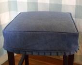 Denim Square Barstool Slipcover with knife pleat skirt Bar Stool Slipcover Washable