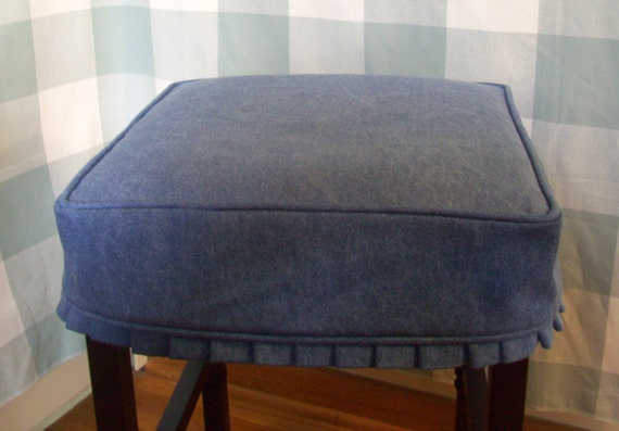 Small pink denim slipcover for chair with knife pleat ruffle