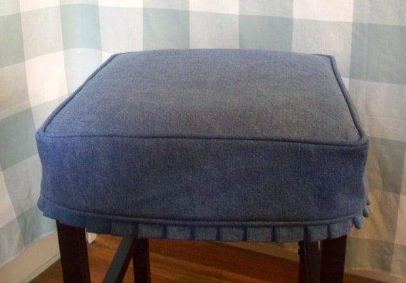Denim Square Barstool Slipcover With Knife Pleat Skirt Bar