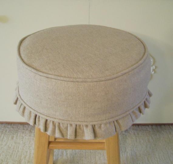 Round Barstool Slipcover Cushion 13 Inch Linen