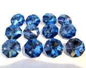 12 Blue Iridescent 14mm 2-Hole Chandelier Crystals Connectors (S-10)