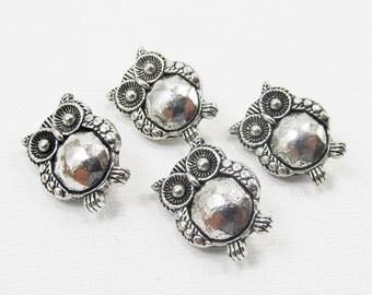 Metal Beads - Antiqued Silver Pewter Owl Sliders (4 beads) - spa574
