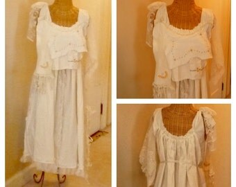 "Sunflower Linens Dress Size 14 Tambour Embroidered Womens Bridal Layered Long Wearable Art Off White 42"" Bust"