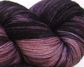 Jackalope hand dyed sock yarn fingering weight, 3ply superwash with nylon, 100g - Black Cherry 1