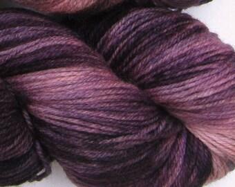 Jackalope hand dyed sock yarn fingering weight, 3ply superwash with nylon, 100g - Black Cherry 3
