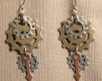Steampunk gear earrings, mixed metals. 061413