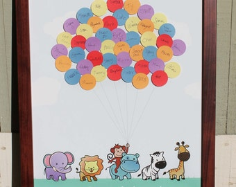 "11""x14"" Baby Shower Guestbook -Zoo Animals Parade Lion Hippo Elephant Zebra Giraffe Monkey"