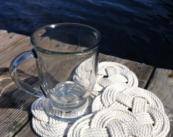 Nautical Coasters - 4 Turks Head Cotton Coasters- Very Nautical and Classic