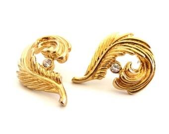 Vintage 80's Avon // Rhinestone Feather Earrings