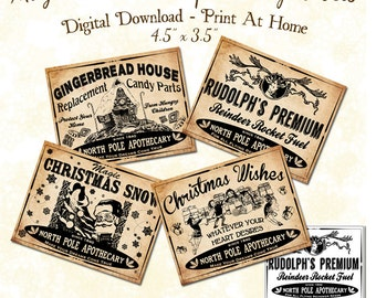Christmas Apothecary Potion Labels Gift Tags Digital Download Printable DIY Vintage Style Clip Art Collage Sheet