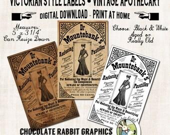 Victorian Vintage Apothecary Label Image Collage Sheet Digital Download Scrapbook Printable DIY Clip Art