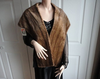 Vintage Light Brown Sheared Muskrat? Fur Stole Capelet Wrap  from 60s Georges A. Roy Levis QC