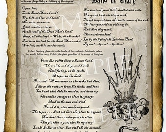 Hand of Glory Legend, Digital Download Graphic Page - Book of Shadows, Witchcraft, Occult, Magick, Conjure