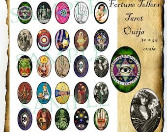 Fortune Teller, Tarot, Ouija 30 x 45 mm Ovals, Instant Digital Download Printable Collage Sheet