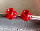 Ruby Red Orchid Stud Earrings