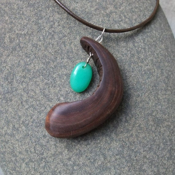 Wooden necklace - the womb holding Chrysoprase  - handmade in Australia - wearable art