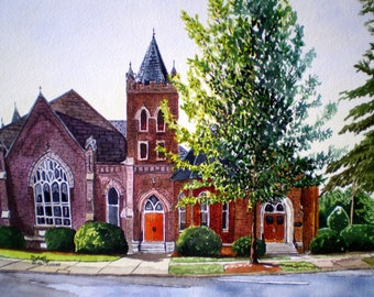 Broadstreet Methodist Church in Statesville NC Print from the Original Watercolor by Michael Joe Moore