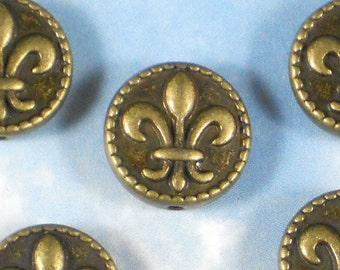8 Fleur de Lis Bronze Beads Coin 16mm ToP to BoTTOM Hole  2 Sided Beaded Edge FDL Saints (P1483)
