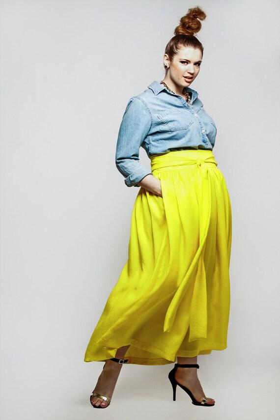 jibri plus size high waist yellow maxi skirt by jibrionline