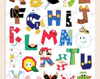 Print-INK Super Mario Bros. Alphabet Poster Wall Art - 16x20 - DIY Digital Printable PDF