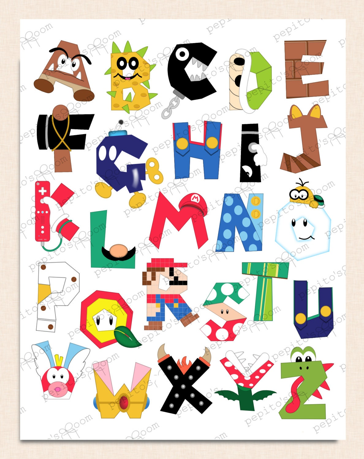 Print ink super mario bros alphabet poster wall art 16x20 for Party wall letter template
