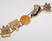 Basketball Bracelet Vintage Slide Charm Design