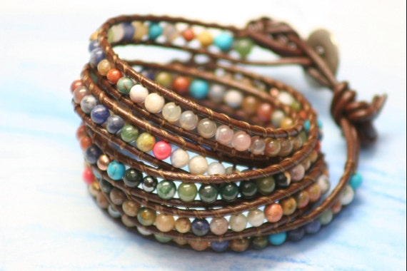 serendipity : five wrap couture leather beaded bracelet