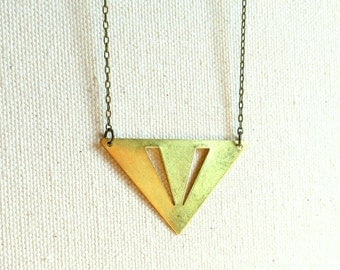 Triangle necklace golden geometric brass triangle necklace