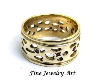Wide 14k Gold Wedding Ring Band & Rubies Handmade- Unique Ruby Ring Open Work Continous Design 10 mm Width Fine Jewelry Art