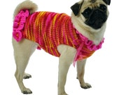 Knitted Dog Sweater Sizes XXS to Large in Hot Pink, Yellow, Red and Orange
