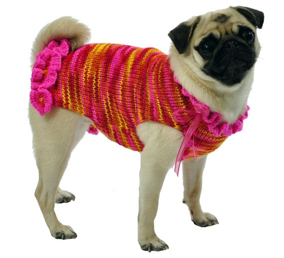 Knitting Patterns For Xxs Dogs : Knitted Dog Sweater Sizes XXS to Large in Hot Pink Yellow
