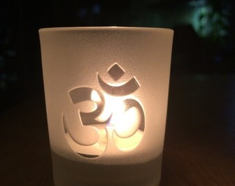 OM engraved Glass votive tea light Candle holder - Frosted or Clear 2 styles Ohm or Reiki symbol