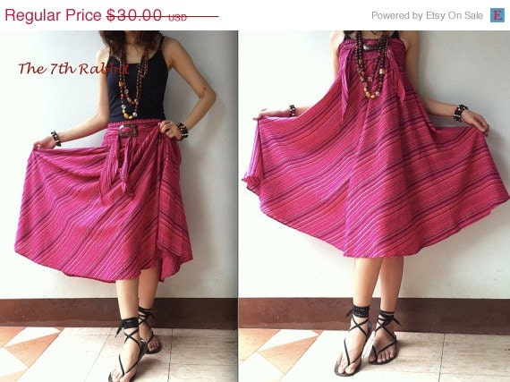 ON SALE Breezy.. stripe skirt or dress in pink shade