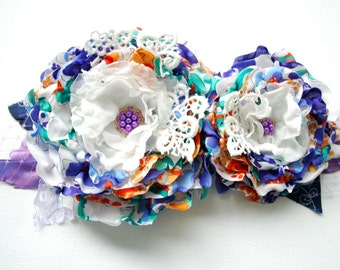 blue orange white flowers, weddings hair accessory, bridal hair flower, corsage, bridesmaids headpiece, flower girl, bridal sash