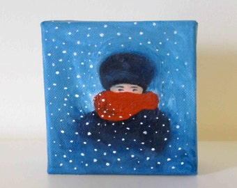 It's Getting Cold - Original Painting - Bundled Up For Winter