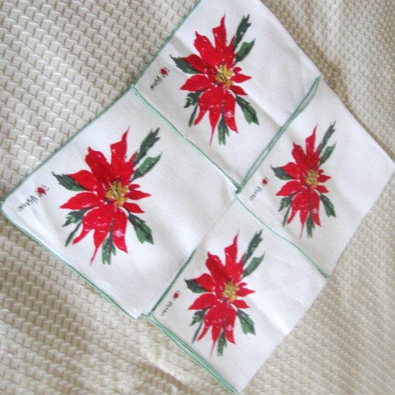 Vintage Christmas Napkins Vera Neumann Holiday Poinsettia