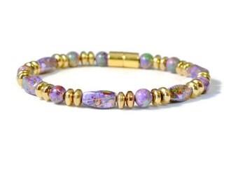 Purple Picasso & Gold Metallic Magnetic Hematite Therapy Bracelet