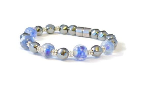 Hematite and Lampwork Glass Beaded Bracelet, Hematite Bracelet, Magnetic Health Jewelry, Lampwork Bead Jewelry