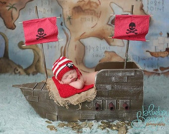 Pirate Hat knitted Newborn photography prop